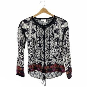Anthropologie Meadow Rue Button Diwn Peasant Top S